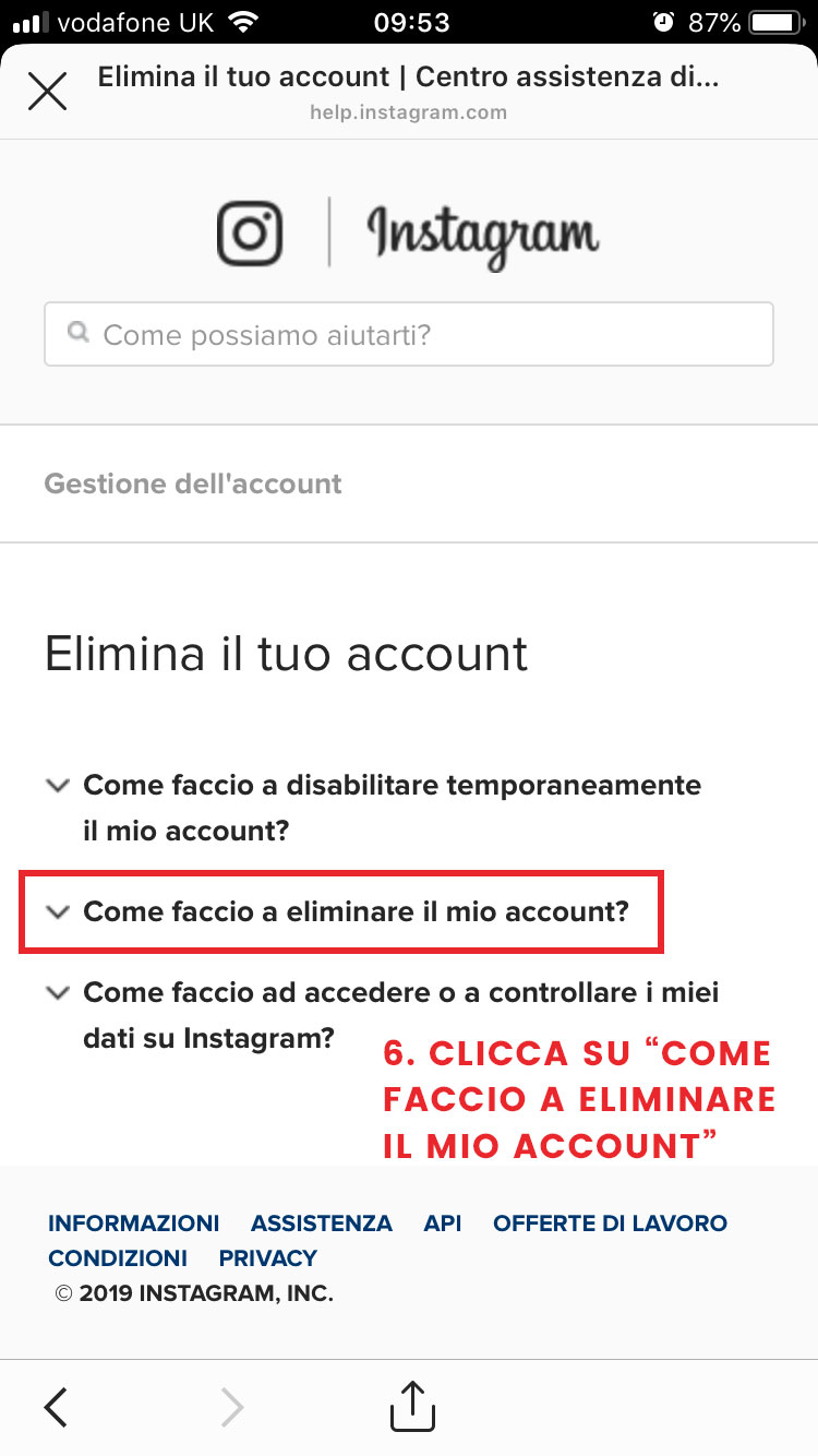 step 6 elimina account instagram