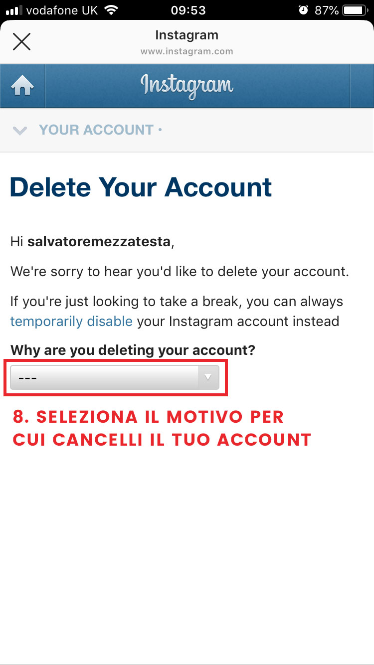 step 8 cancellarsi da instagram