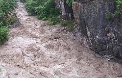 Hochwasser bei Golling Flug Salzach Lammer