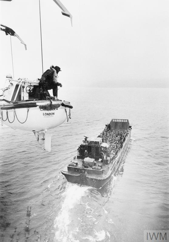 1 June 1982. 5 Infantry Brigade troops from the P&O liner CANBERRA to BLUE Beach at San Carlos being transported by landing craft.