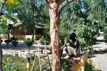 Sculpteur dans les jardins du campement