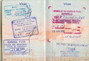 Mes visas pour l'Afrique...
