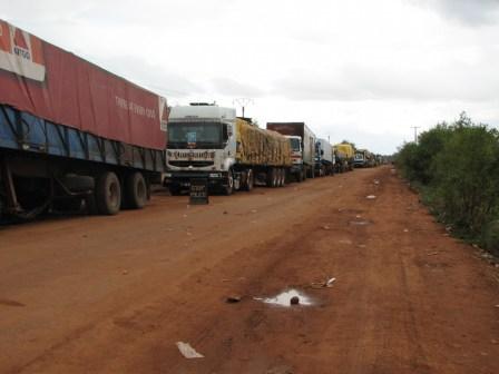 La file de camions