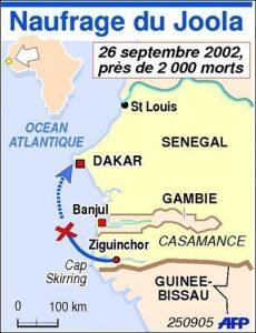 Carte du trajet du Joola entre Ziguinchor et Dakar