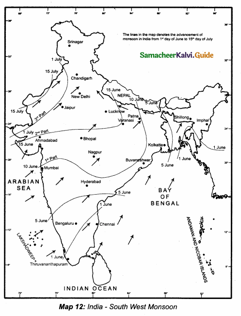 Samacheer Kalvi 10th Social Science Guide Geography Chapter 2 Climate and Natural Vegetation of India 2