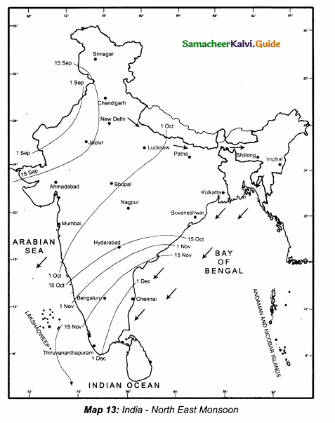 Samacheer Kalvi 10th Social Science Guide Geography Chapter 2 Climate and Natural Vegetation of India 3