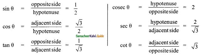 Samacheer Kalvi 9th Maths Guide Chapter 6 Trigonometry Ex 6.1 6