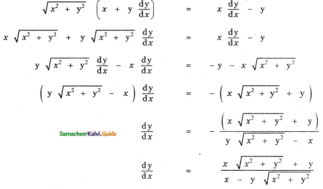 Samacheer Kalvi 11th Maths Guide Chapter 10 Differentiability and Methods of Differentiation Ex 10.4 10