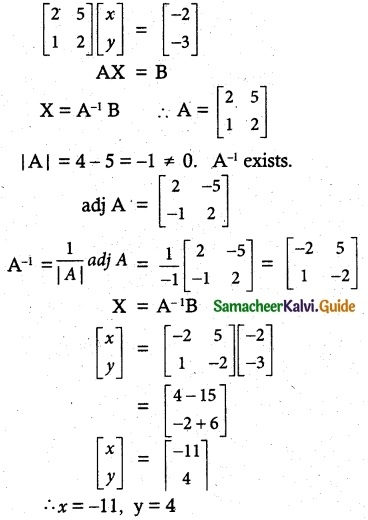 Samacheer Kalvi 12th Maths Guide Chapter 1 Applications of Matrices and Determinants Ex 1.3 1