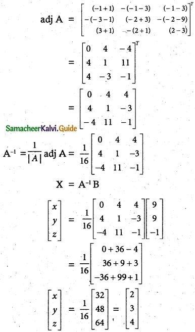 Samacheer Kalvi 12th Maths Guide Chapter 1 Applications of Matrices and Determinants Ex 1.3 4