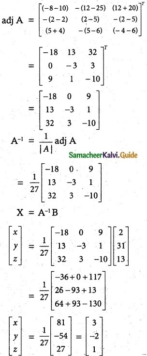 Samacheer Kalvi 12th Maths Guide Chapter 1 Applications of Matrices and Determinants Ex 1.3 6