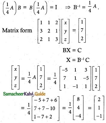 Samacheer Kalvi 12th Maths Guide Chapter 1 Applications of Matrices and Determinants Ex 1.3 9