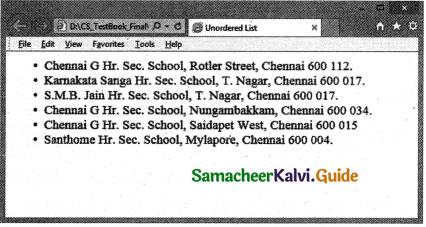 Samacheer Kalvi 11th Computer Applications Guide Chapter 11 HTML – Formatting Text, Creating Tables, List and Links 22