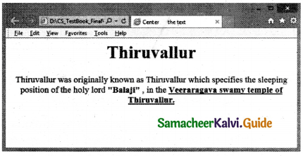 Samacheer Kalvi 11th Computer Applications Guide Chapter 11 HTML – Formatting Text, Creating Tables, List and Links 35