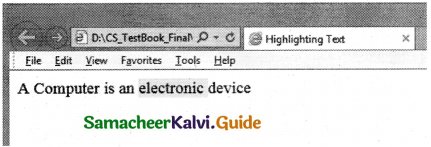 Samacheer Kalvi 11th Computer Applications Guide Chapter 11 HTML – Formatting Text, Creating Tables, List and Links 40