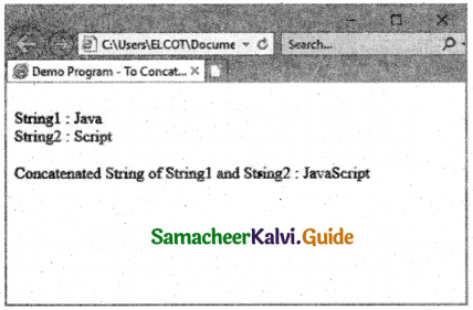 Samacheer Kalvi 11th Computer Applications Guide Chapter 14 Introduction to Javascript 2