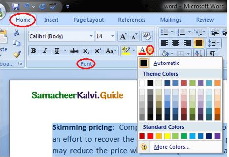 Samacheer Kalvi 11th Computer Applications Guide Chapter 6 Word Processor Basics (OpenOffice Writer) 29