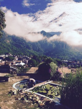 mountain view and low clouds in tepoztlan