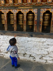 Learning about prayer wheels, Thimphu, Bhutan