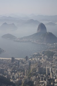 Bird's-eye view of Guanabara Bay from Corcovado mountain, Rio de Janeiro, Brazil