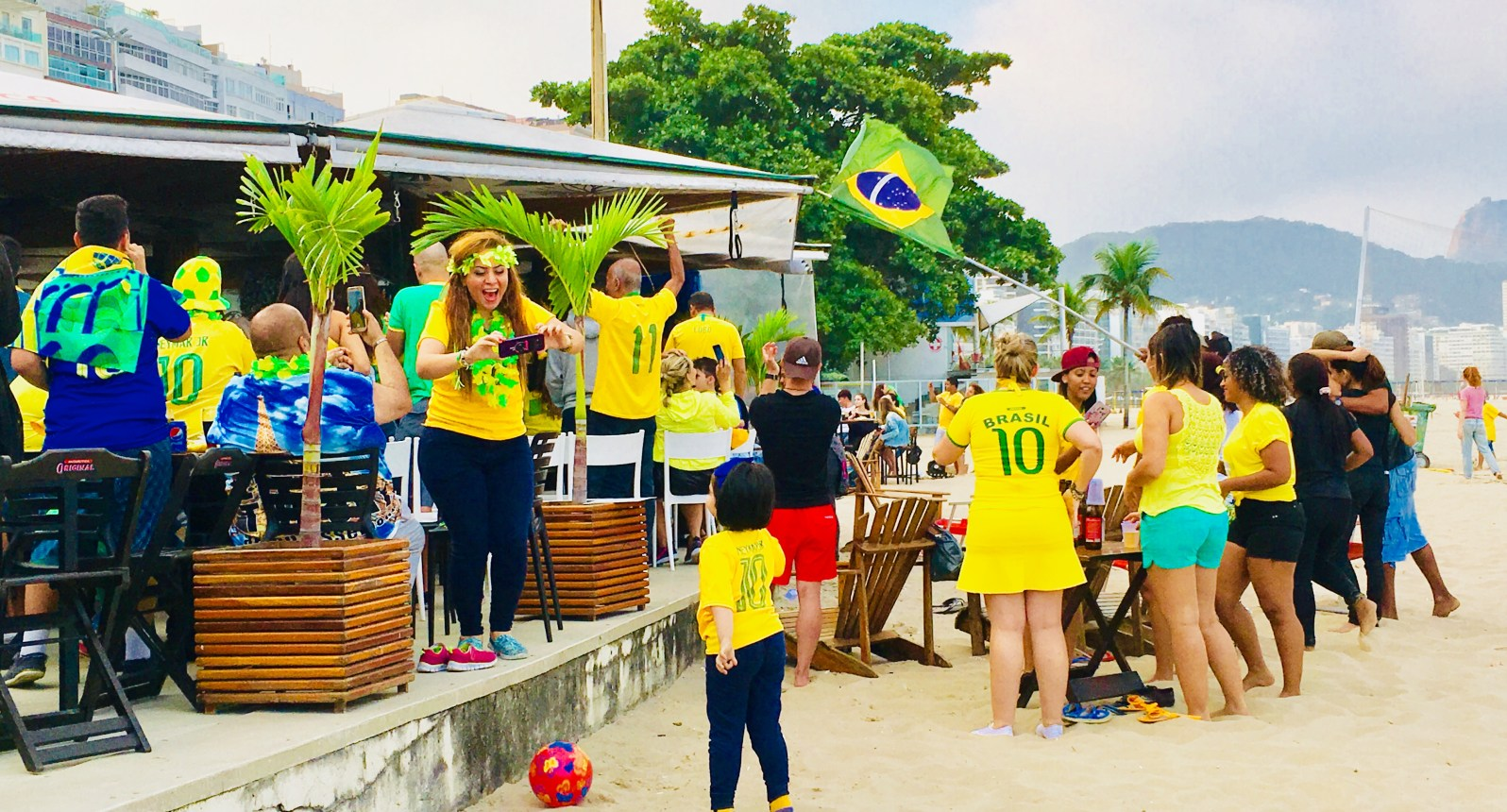 Jubilation on Copacabana Beach Rio Brazil World Cup 2018