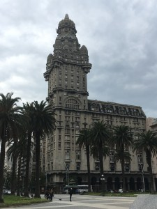 Palacio Salvo from the spartan expanse of Plaza Independencia, Montevideo, Uruguay