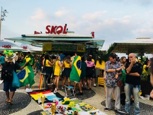 Waiting for kick-off, Copacabana Rio Brazil World Cup 2018