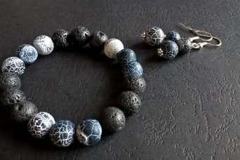 Samaja Biżuteria Lawa wulkaniczna z agatem trawionym - komplet