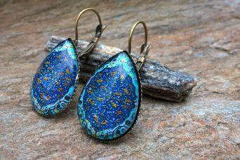 Kolczyki łezki niebieska mandala