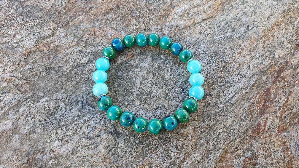 Bransoletka zielono - niebieski mix chryzokoli i jadeitu