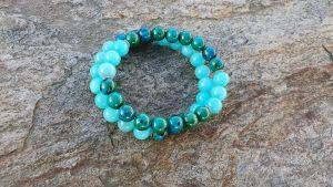 Bransoletka zielono - niebieski mix