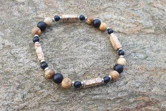 Bransoletka indiańska - jaspis obrazkowy z lawą