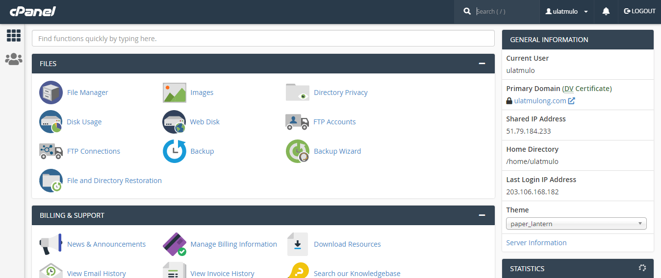 cPanel Front page