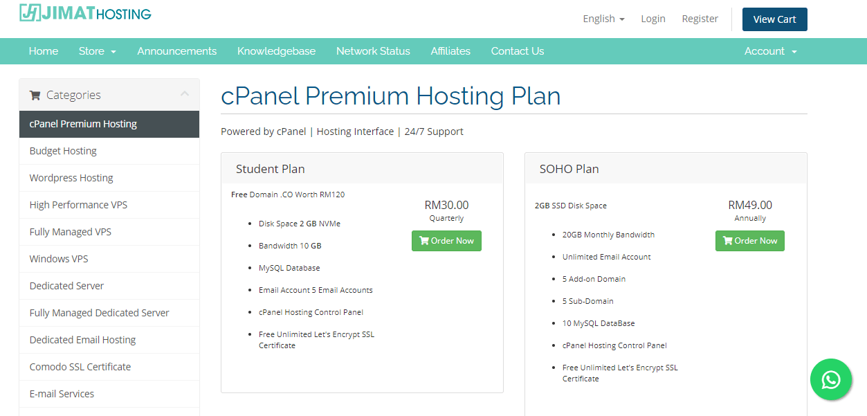 select web hosting packages