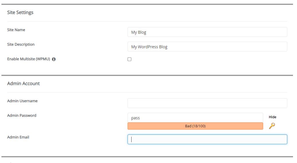 site setting wordpress