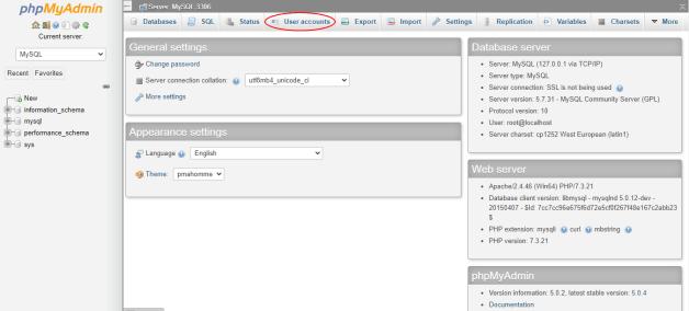 creating database in wampserver using phpmyadmin