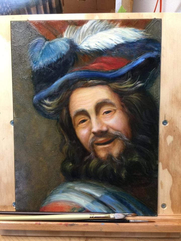 oil painting copy of the face of the Merry Fiddler from 1623