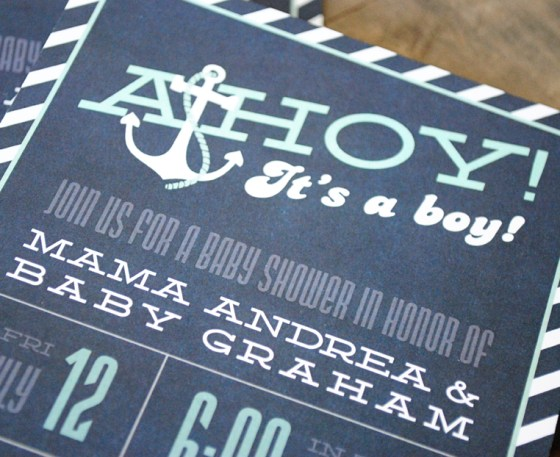 Ahoy Its A Boy Nautical Baby Shower Invitation blue and aqua 65