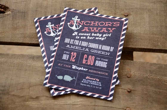 Anchors Away Girl Nautical Baby Shower Invitation blue and coral 72