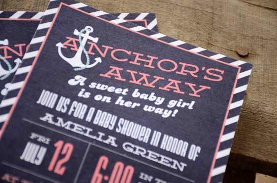 Anchors Away Girl Nautical Baby Shower Invitation blue and coral 73