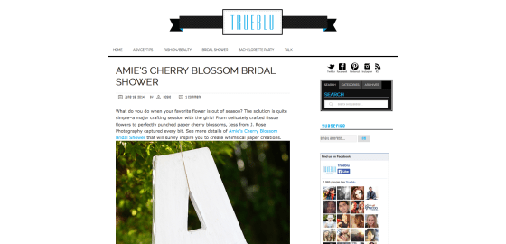 Amies Cherry Blossom Bridal Shower on True Blu