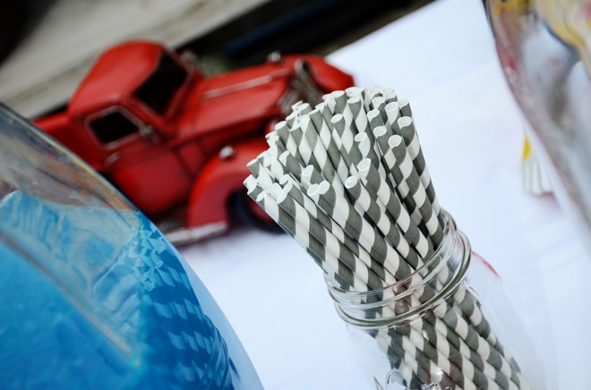 car themed baby shower party gray stripe straws