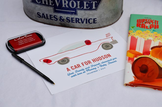 car themed shower party thumb print guest book