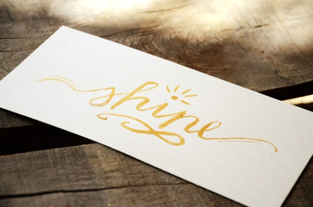 water color hand lettering one little word shine 03