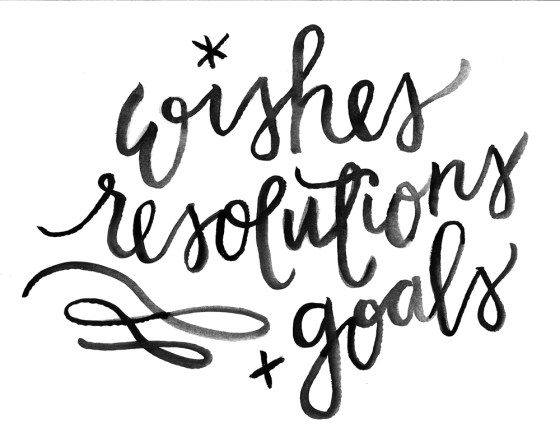 wishes resolutions +goals watercolor brush lettering by sam allen creates