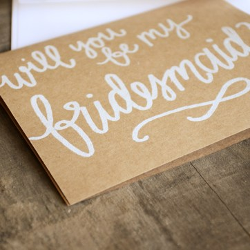Bridesmaid Bridal Party Invitations by Your New Friend Sam - Kraft Brown Cardstock with White Opaque Embossing, Bridesmaid