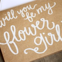 Bridesmaid Bridal Party Invitations by Your New Friend Sam - Kraft Brown Cardstock with White Opaque Embossing, Flower Girl