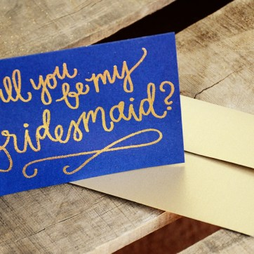 Bridesmaid Bridal Party Invitations by Your New Friend Sam - Navy Cardstock with Gold Glitter Embossing, Bridesmaid