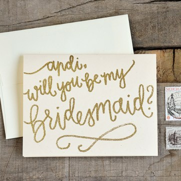 Bridesmaid Bridal Party Invitations Personalized Will You Be My Bridesmaid Cards by Your New Friend Sam - Cream Cardstock with Gold Glitter Embossing