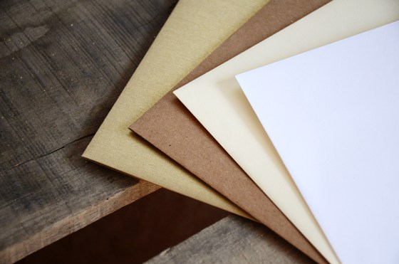 Gold, Kraft Brown, Cream and White Envelope Choices
